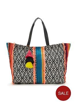 v-by-very-aztec-stripe-panel-beach-bag