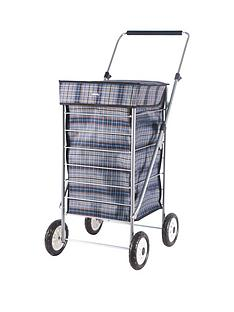 sabichi-blue-check-4-wheel-trolley