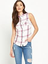 Sleeveless Check Shirt