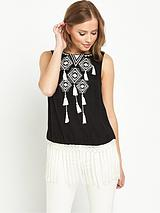 Fringed Embroidered Open Back Top