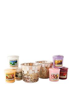 yankee-candle-set-of-6-votives-with-2-gold-and-pearl-crackle-holders