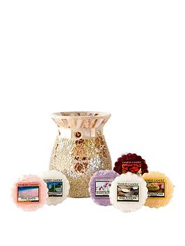 Yankee Candle Gold And Pearl Crackle Melt Warmer With 6 Wax Melts