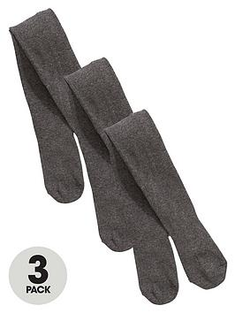 V By Very Girls Flat Knit School Tights (3 Pack)  Grey