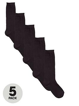 V By Very Girls Black Knee High Socks (5 Pack)