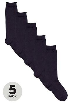 V by Very V By Very 5 Pack Girls Knee High Socks - Navy Picture
