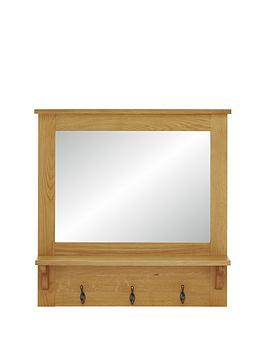 Luxe Collection  London Oak Ready Assembled Hallway Mirror With Shelf And Hooks