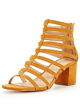 Fort Mid Block Heel Caged Strappy Sandal