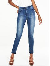 High Waisted Frayed Hem Skinny Jean