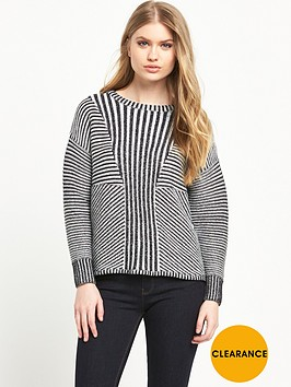 warehouse-marl-effect-ribbed-jumper
