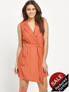mink-pink-little-lolita-sleeveless-faux-wrap-soft-shirt-dress