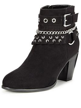 V By Very Clarence Chain And Strap Detail Ankle Boots Imi Suede