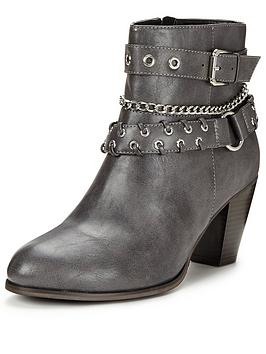V By Very Clarence Chain And Strap Detail Ankle Boot