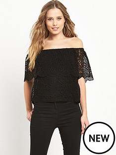 v-by-very-bardot-lace-top
