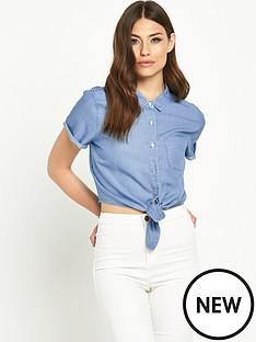miss-selfridge-miss-selfridge-tie-front-cotton-shirt