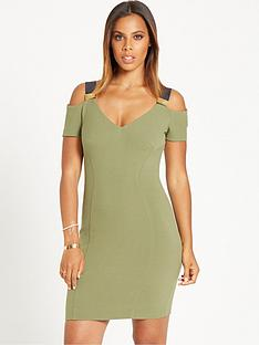 rochelle-humes-trim-detail-bodycon-dress-khaki