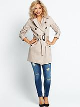 Double Breasted Belted Trench - Natural