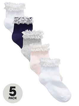 Mini V By Very Girls Pretty Frill Ankle Socks (5 Pack)