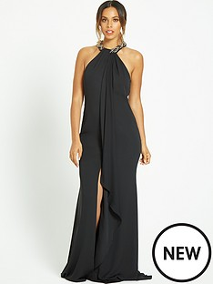 rochelle-humes-jeweled-neckline-maxi-dress