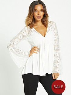 rochelle-humes-floral-lace-flute-sleeve-jersey-top