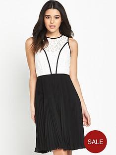 wallis-wallis-mono-lace-top-pleat-dress