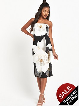 wallis-mono-strapless-dress