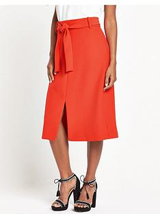 warehouse-belted-skirt-red