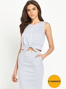 warehouse-cropped-stripe-tie-front-top