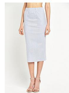 warehouse-pencil-stripe-column-skirt