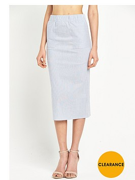 warehouse-pencil-stripe-column-skirt