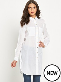 warehouse-plain-voile-longline-shirt