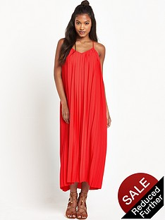 warehouse-pleat-cami-dress-red