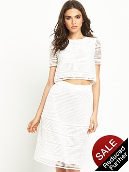 warehouse-geo-lace-top-white