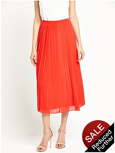 warehouse-pleated-skirt-red