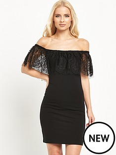 miss-selfridge-lace-bardotnbspfrillnbsp