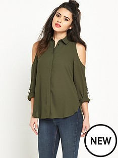 miss-selfridge-cold-shoulder-shirtnbsp