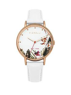fiorelli-fiorelli-white-floral-printed-dial-white-leather-strap-ladies-watch