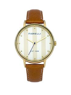 fiorelli-fiorelli-white-satin-dial-with-gold-stripes-tan-leather-strap-ladies-watch