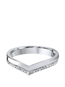 Love DIAMOND Love Diamond 9Ct White Gold 15 Point Diamond Wishbone 3Mm  ... Picture