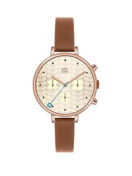 orla-kiely-orla-kiely-ivy-rose-gold-coloured-case-flower-chronograph-tan-leather-strap-ladies-watch
