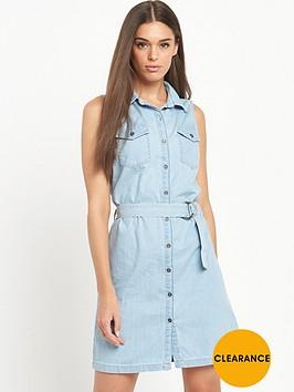 miss-selfridge-sleeveless-bleach-belted-tencel-shirt-dress