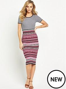 v-by-very-stripe-side-split-rib-knitted-midi-dress