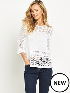 v-by-very-flare-sleeve-pointelle-crochet-jumper