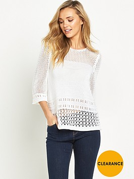 v-by-very-flare-sleeve-pointelle-crochet-jumper