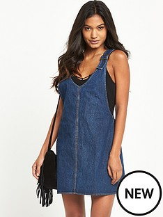 motel-litton-denim-pinafore-dressnbsp