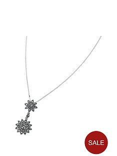 elements-sterling-silver-double-daisy-marcasite-drop-pendant