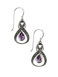 elements-elements-sterling-silver-amethyst-and-marcasite-loop-earrings