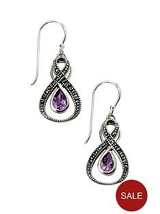 elements-elements-sterling-silver-amethyst-and-marcasite-loop-earrings