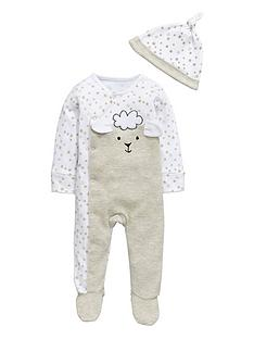 ladybird-baby-unisex-sheep-sleepsuit-and-hat-set