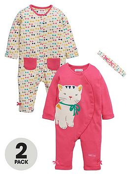 ladybird-baby-girls-bow-and-kitty-print-rompers-with-headband-set-3-piece
