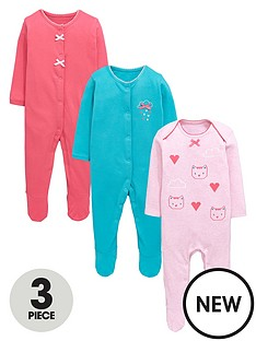 ladybird-baby-girls-3pk-cloud-and-kitten-motif-sleepsuits